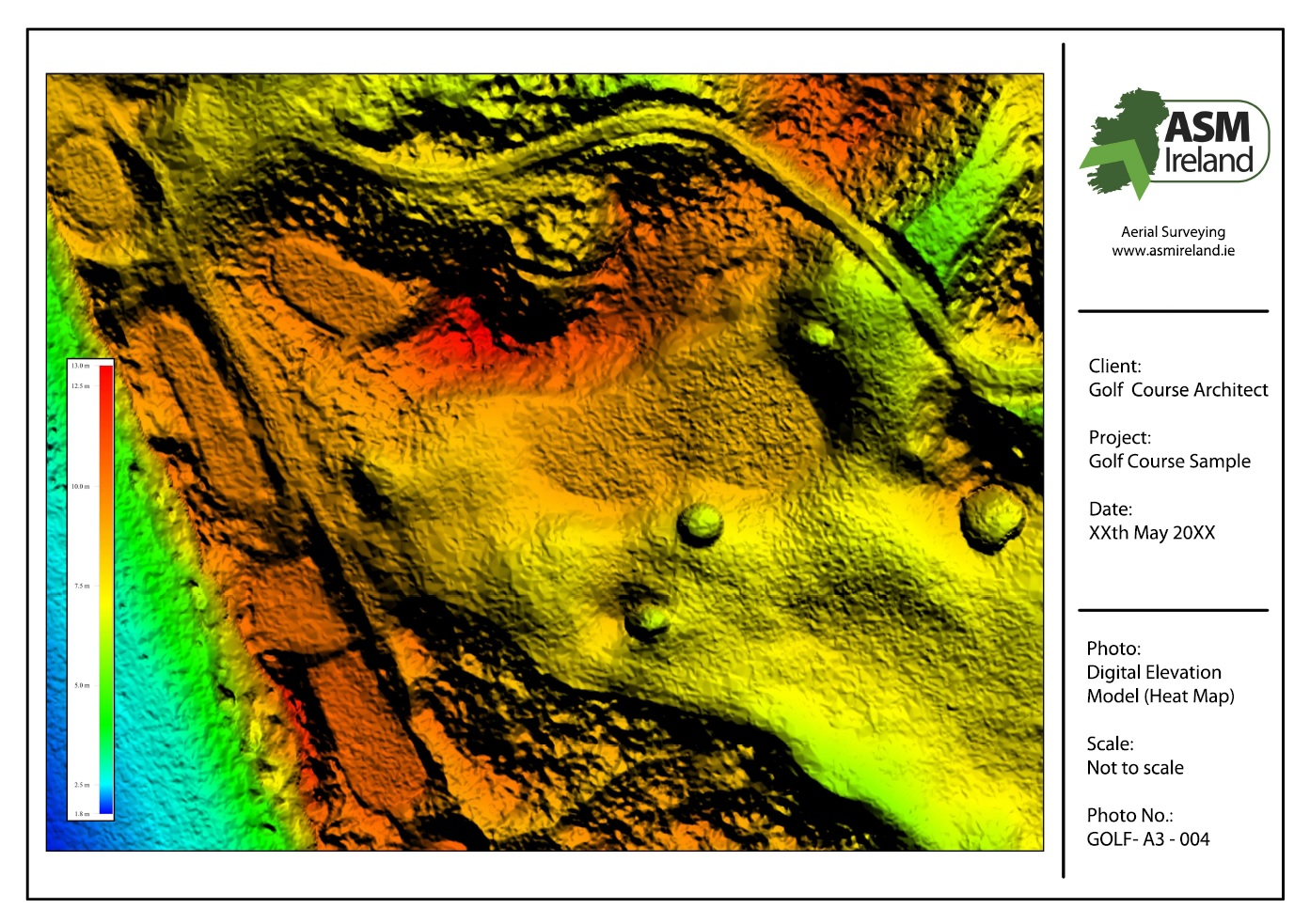 Ireland Elevation Map.Golf Course Mapping Asm